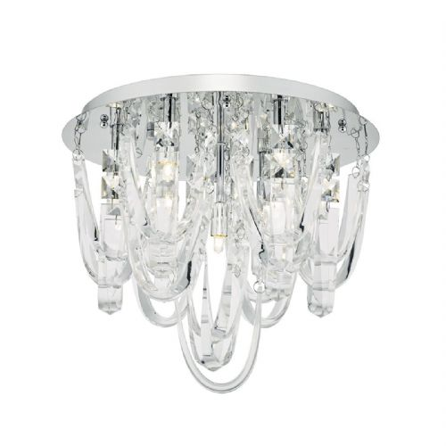 Roxanne 7 Light Flush Polished Chrome/ Crystal